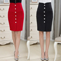 2016 Korean High Waist Skirts Womens Fashion Single-breasted Design Pencil Skirt Large Size Knee Length Jupe Crayon