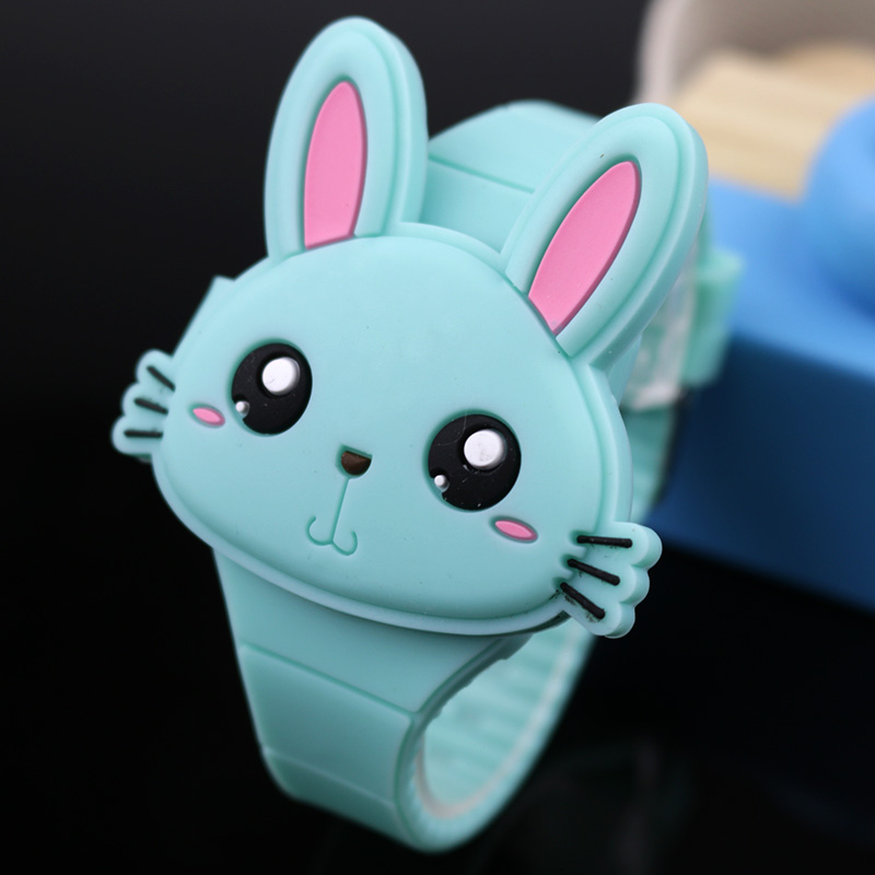 Lovely Rabbit Cartoon Children Watches Flip Cover Rubber Electronic Kids Watch for Boy Student Girls Clock Reloj Infantil Saati
