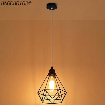 Lampshade Pendant Light Decor Indutrial Wire Cage Style Retro Birdcage Style Ceiling Metal Easy Fit For Home