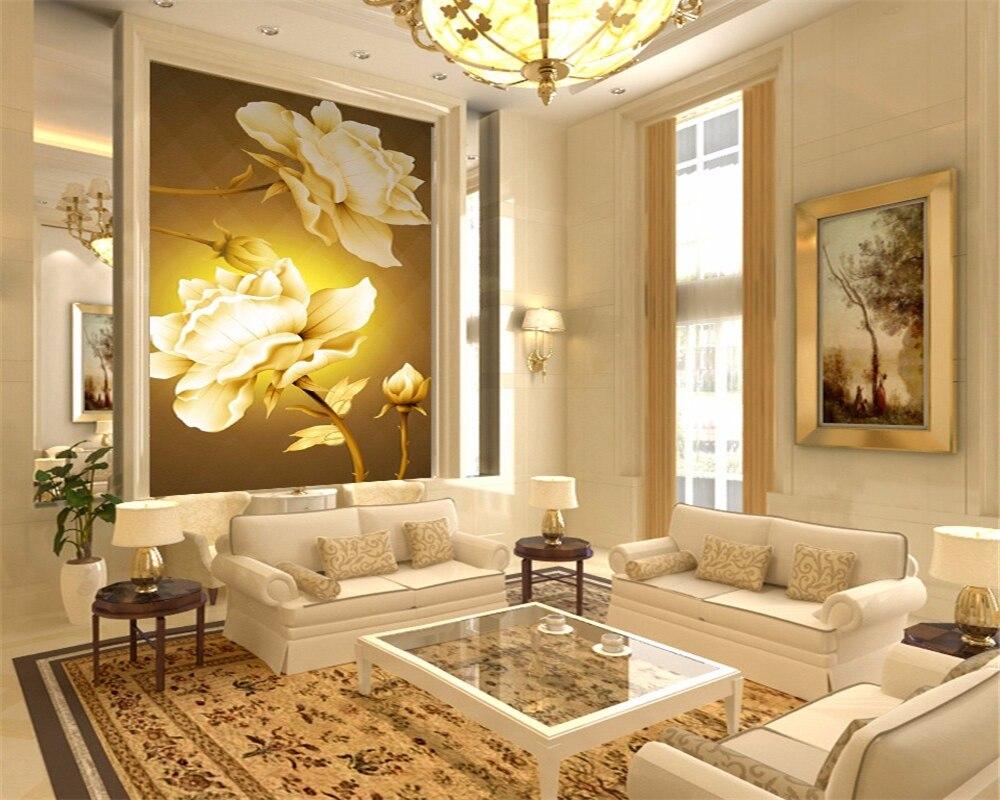 Beibehang aangepaste behang veranda gang achtergrond goud rose