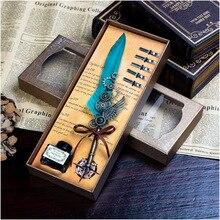 лучшая цена 1Set Calligraphy Feather Dip with 5 Nib Gift Quill Pen Writing Ink Set Gift Box Wedding Fountain Pen Design New Dawegama