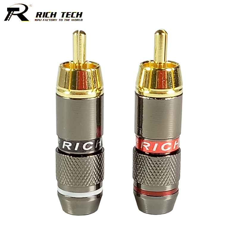 10pcs/lot RCA Connector gold plated Wire Connector 6mm cable RCA male plug professional speaker audio adapter 5 Pairs Red+Black dsha new hot 10pcs gold tone male rca plug audio connector metal spring adapter