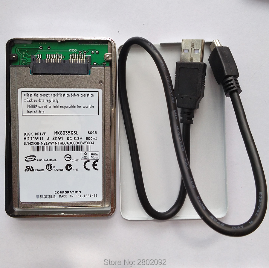 NEW 80GB HDD 1.8 MicroSATA MK8035GSL AND A mobile hard disk box FOR HP 2740p 2730p 2530p 2540p IBM x300 x301 T400S T410S image