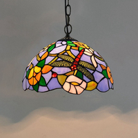 tiffany dragonfly lamp pendant light mediterranean small kitchen hanging lamps french country italian stained glass light D30cm