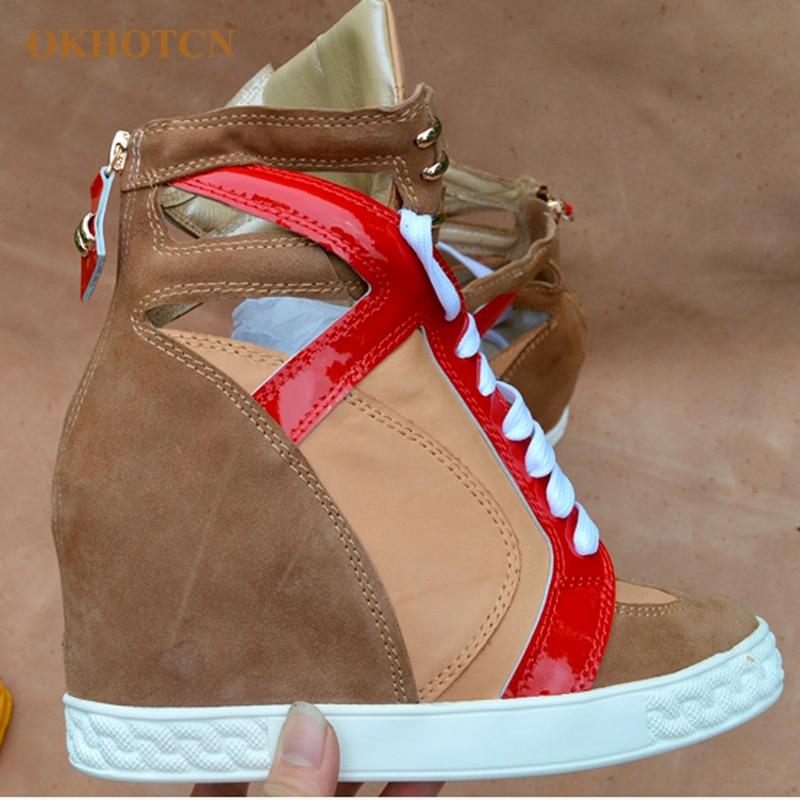 Plataforma Mujer Gamuza Nuevo Cremallera Moda Señora Hueco Caqui Mujeres Cuña Aumento Botas As La Altura Color Casuales Zapatos Las De Show Con BaaqnwgxC4