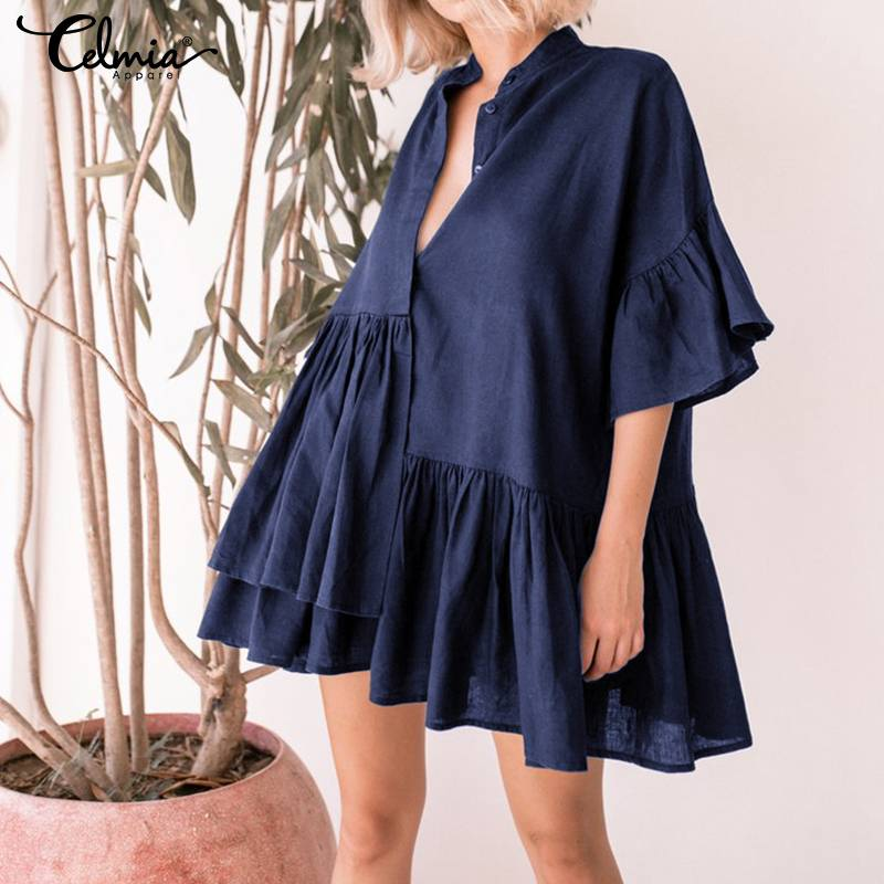 Women Ruffle Mini Dress Plus Size Sexy V-neck Half Sleeve Button Casual Loose Shirt Celmia 2019 Summer Beach Vestidos Robe