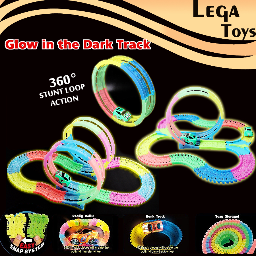 Glow race font b toy b font track Playsets Flash in the Dark Accessory 360 Loop