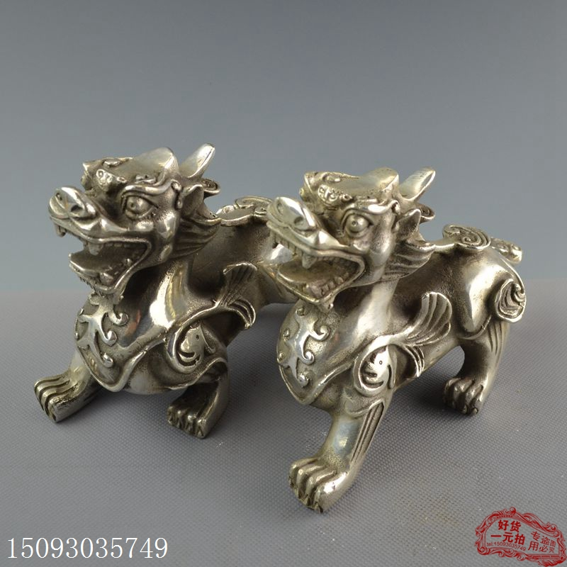 China old Decoration plated silver Carvingauspiciousness A pair of brave animals StatueChina old Decoration plated silver Carvingauspiciousness A pair of brave animals Statue