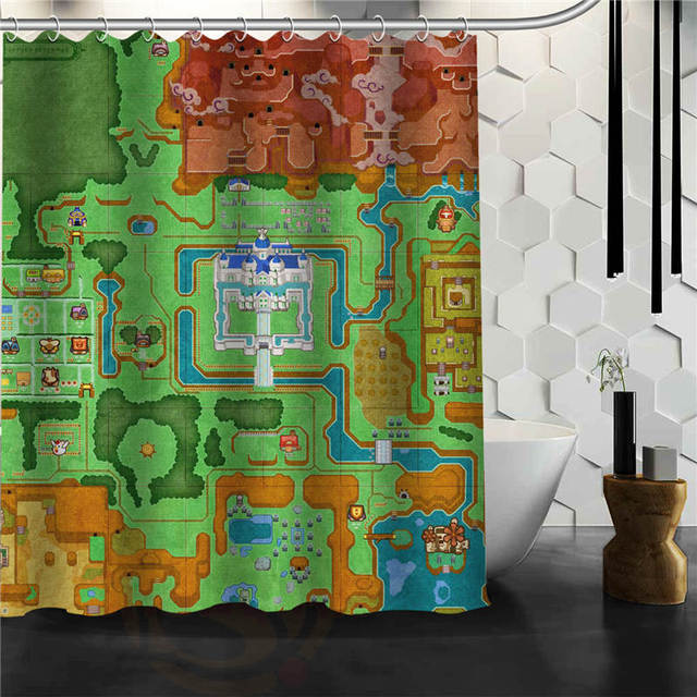 Custom Legend Of Zelda Maps Shower Curtain Bathroom Products Creative Polyester Home