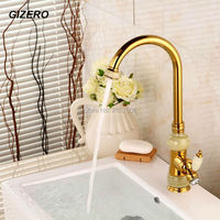 Free Shipping Design European Marble Faucet Waterfall Bathroom Faucet Gold Copper Classical Water Faucet Kitchen Mixer