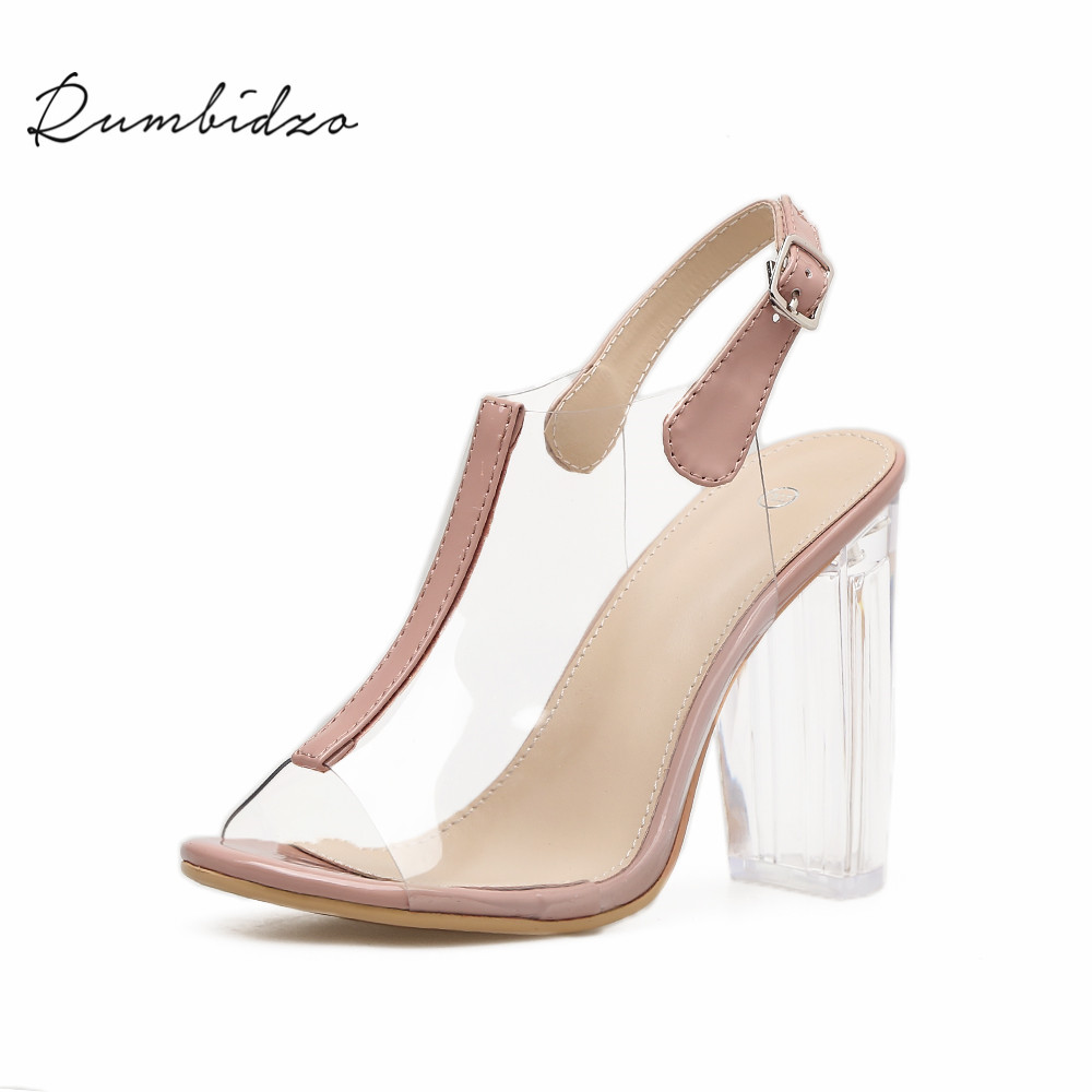Rumbidzo Women Pumps 2018 Fashion Woman High Heels Shoes Peep Toe Ankle Strap Buckle up Transparent Heels Clear Heel PVC Shoes hihopgirls 2018 new spring women pumps peep toe high heels shoes square heel ankle cross stap sexy transparent pvc boots woman