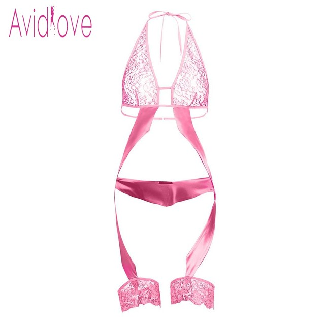 Avidlove Sexy lingeire Women Halter Lace See Through Sexy One Piece Garter Lingerie Set Nightwear