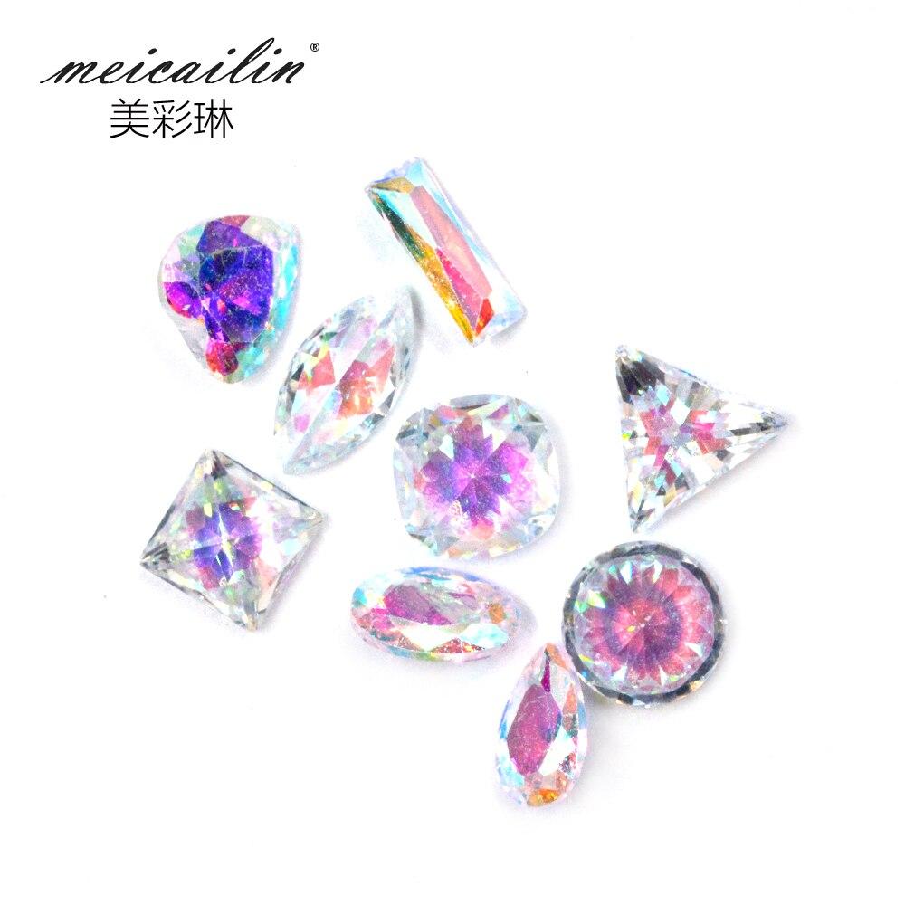 Meicailin White AB 3D 5pcs Nail Art Decorations Acrylic Diamond ...
