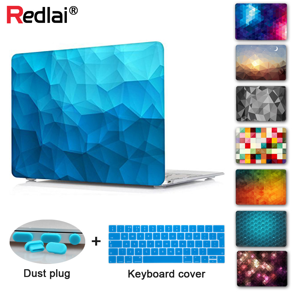 Redlai Geometric Case for 2018 New Macbook Air 13 A1932 ერთად Touch ID Pro 13 15 Retina A1502 Touch Bar A1706 A1707