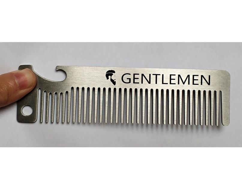 LAOCCCROSS Men Beard Comb Long Stainless Steel Beard Shaving Brush Men's Mini Mustache Pocket Comb Bottle Opener 5