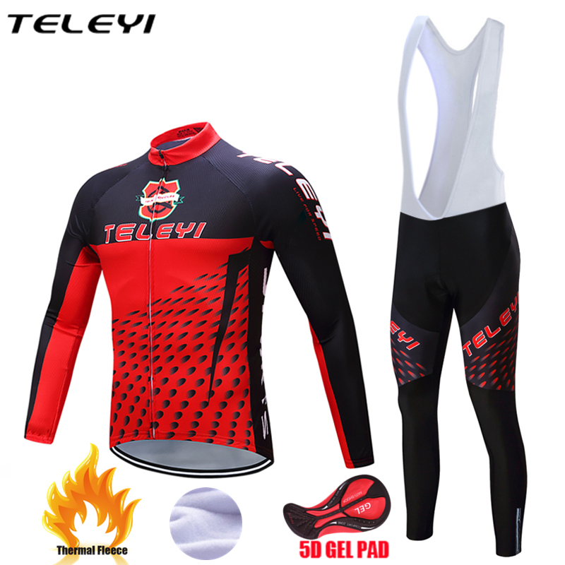 Teleyi  2017 Cycling Jerseys Cycling Set Winter Thermal Fleece Long Sleeves Racing MTB Suit Maillot Bike Clothing Ropa Ciclismo