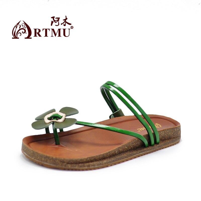 Playa Mujeres Artmu Genuino Chanclas Cuero Zapatos Verde A Sandalias 1TJKlFc3
