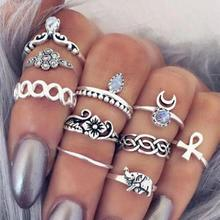 10Pcs/Set Vintage Women Rings Chic Harajuku Female Bohemian Casual Party Rings Hip Hop Carved Flower Rings Accessories Jewlery 3