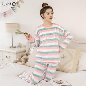 Image 2 - Striped & Flamingo Pajamas Set for Women 2019 New O neck Long Sleeve Flannel Sleepwear Suit Winter Warm Two Piece Set Homewear