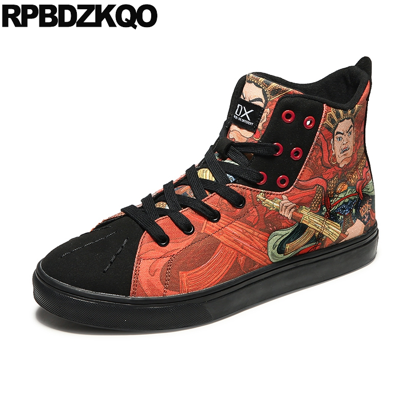 Detail Feedback Questions about Canvas Hip Hop Suede Printed 11 Casual  Sneakers 47 Designer Shoes Men Luxury 2018 High Top Skate Big Size Painting  Trainers ... 540ffa381e93