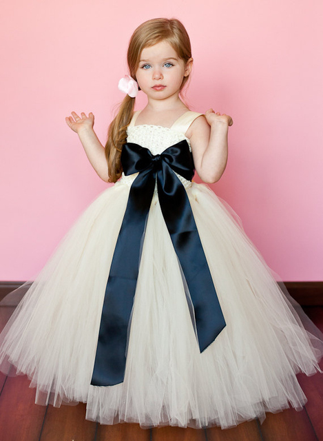 fb390ecb0149 Giant Bow Black and White Flower Girl Dress FD0007-in Flower Girl ...