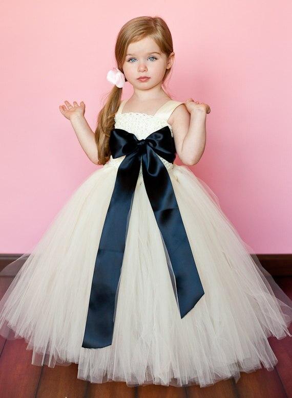 Gigante Bow negro y blanco de flores niña Dress FD0007 en Vestidos ...