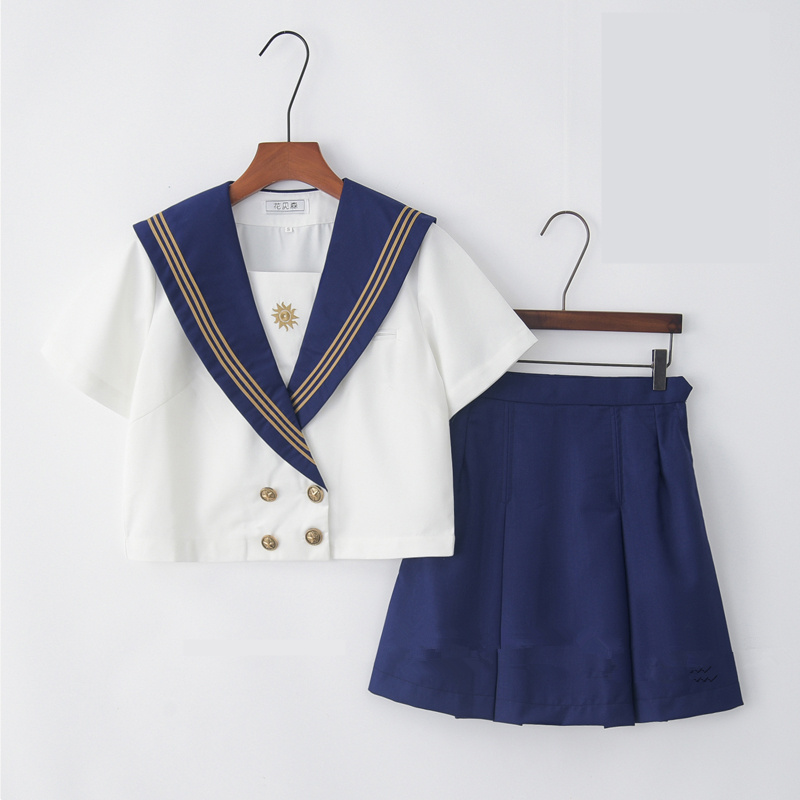 Japanese School Uniform For Girls Navy Sailor Uniform Students Clothes Anime Skirt For Girl Lala Cheerleader Clothing