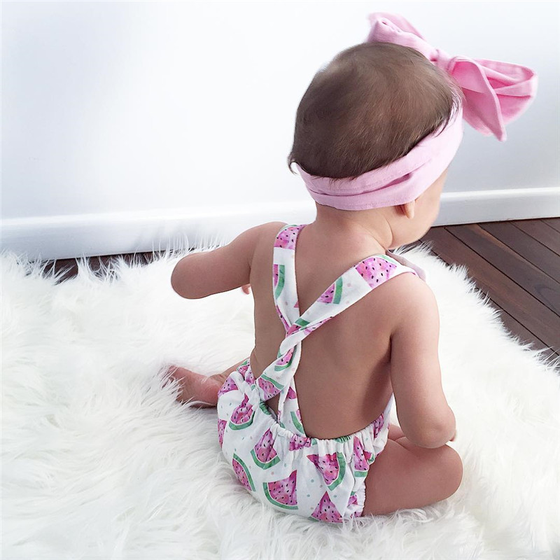 c10264234c4c Newborn Baby Girl Sliders Clothes Summer Sleeves Watermelon Backless  Overalls + Headband 2 pcs. Costumes Women s Beach Suit Tags