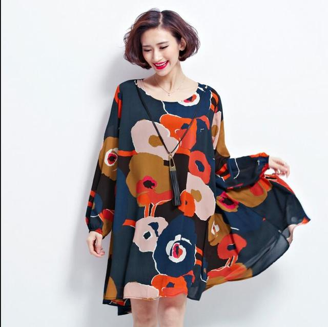 Plus big sizes woman clothing 2016 Female Large Size Dresses Printing Long Sleeve Loose Chiffon Dress for Women with Necklace