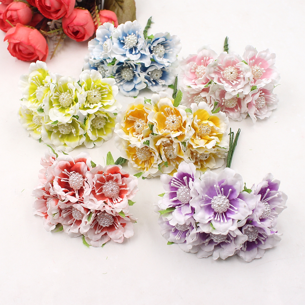 ᗚ6pcs silk chrysanthemum pearl daisy bouquet artificial flower ...