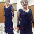2017 Azul Marinho Vestidos madre de la novia Plus Size Mãe Dos Vestidos de Noiva Beading Sheer Manga Comprida Roupa Do Convidado Do Casamento
