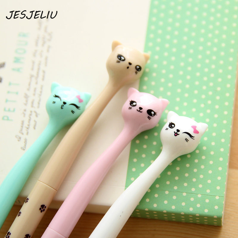 цена на 0.5mm Cute Kawaii Plastic Ink Gel Pen Cartoon Cat Pens For School Writing Office Supplies Korean Stationery