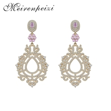 2019 Personality Fashion Trend Exquisite Earrings Dazzling Flower Copper Zircon Jewelry
