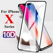 10D מגן זכוכית על עבור Apple iphone xs xr x 11 פרו מקסימום מסך מגן עבור iphone 6 6s 7 8 בתוספת 9H מזג tremp סרט
