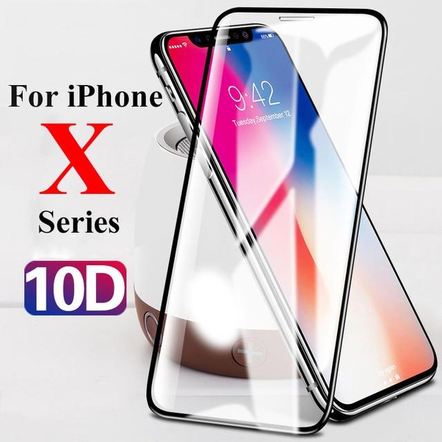 10D verre de protection sur le pour Apple iphone xs xr x 11 Pro max protecteur décran pour iphone 6 6s 7 8 plus 9H film tremp trempé