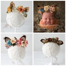 Fox Ears NewBorn Props Headband Flower Baby Girl Photo Halo Newborn Photography Props First Birthday Floral Crown Hairpiece Gift(China)