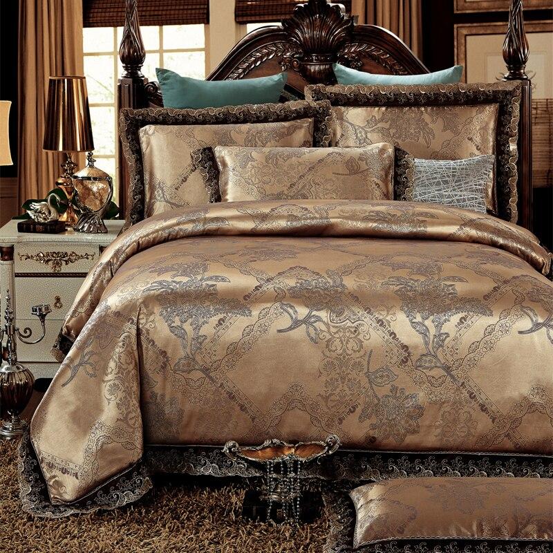 4pcs Green Jacquard Satin bedding set king queen Luxury Silk cotton quilt/duvet cover bed linen bedclothes set home textile4pcs Green Jacquard Satin bedding set king queen Luxury Silk cotton quilt/duvet cover bed linen bedclothes set home textile