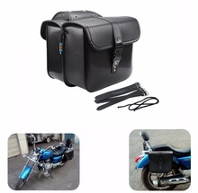Black Universal Motorcycle Saddle bags Cruiser Side Storage Tool Pouches For Harley
