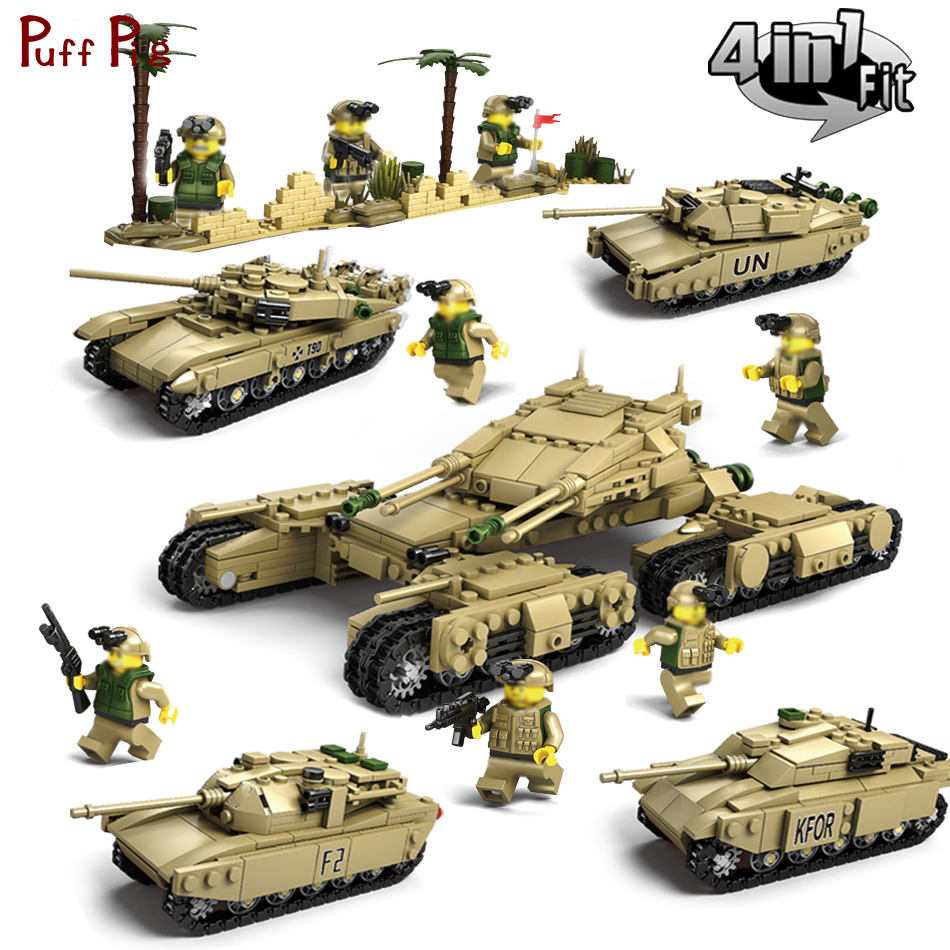 1242pcs 4in1 Military T90 M1A2 World War 2 Battle Tank Model Building Blocks Compatible Legoed Army ww2 Soldiers Toys For Kids