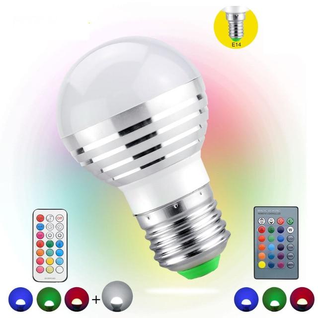 1Pcs AC85V-265V E27 E14 dimmer LED RGB Bulb Candle lamp 5W LED RGBW Spotlight magic Holiday lighting+IR Remote Control 16 colors