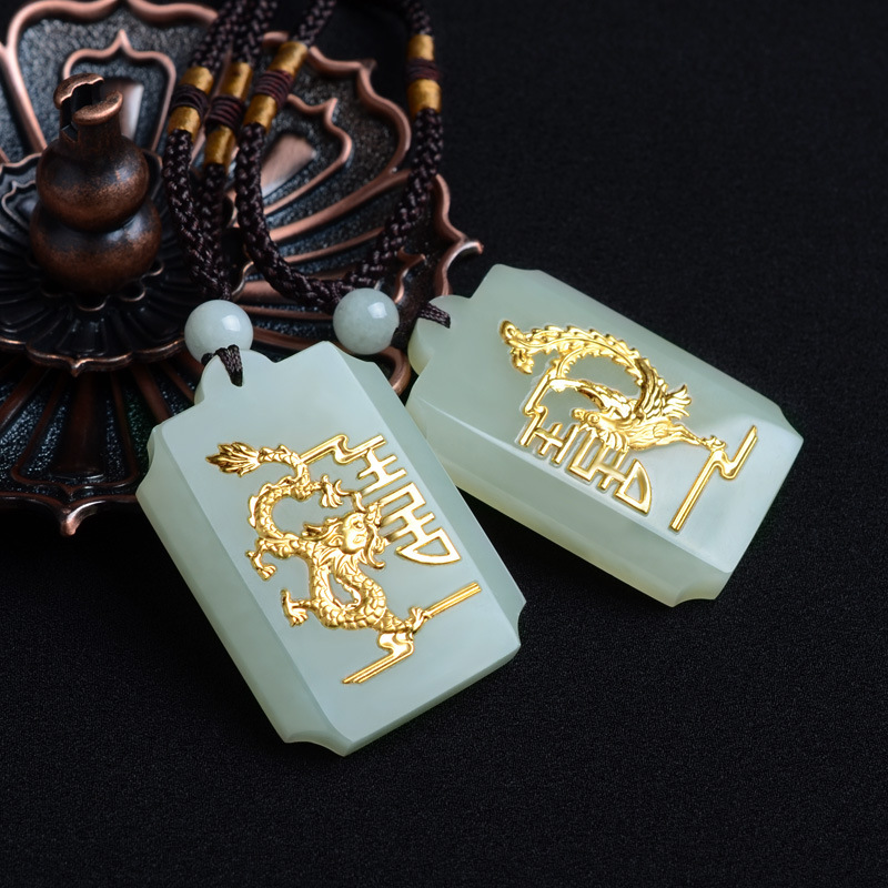 Natural HeTian Yu 100% Pure Solid 18 Gold Dragon Phoenix Lucky Amulet Pendant + Necklace + Certificate Fine Jewelry pretty handwork natural light green grade a jadeite buddha guanyin lucky amulet pendant free necklace certificate fine jewelry