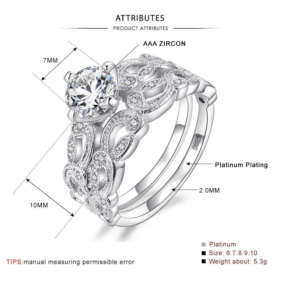 Bamos ผู้หญิงแหวนแต่งงานชุด 18KT ทองคำขาวแหวนเครื่องประดับแหวนหมั้นสำหรับสุภาพสตรี
