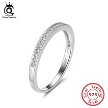 ORSA JEWELS Genuine 925 Female Eternity Rings Sterling Silver Clear Zircon Women Wedding Ring Valentine Present Jewelry SR136(China)