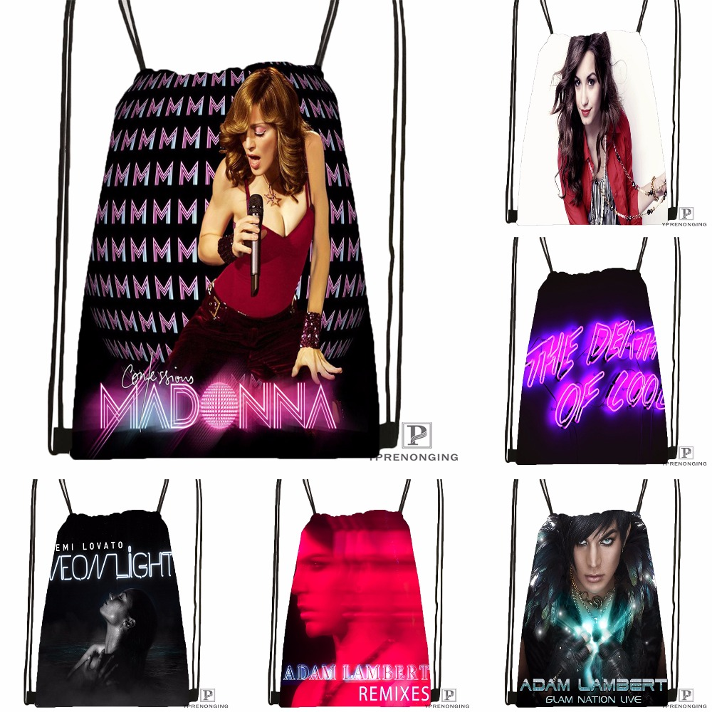 Custom Celebrities Demi Lovato Drawstring Backpack Bag Cute Daypack Kids Satchel (Black Back) 31x40cm#180531-03-74