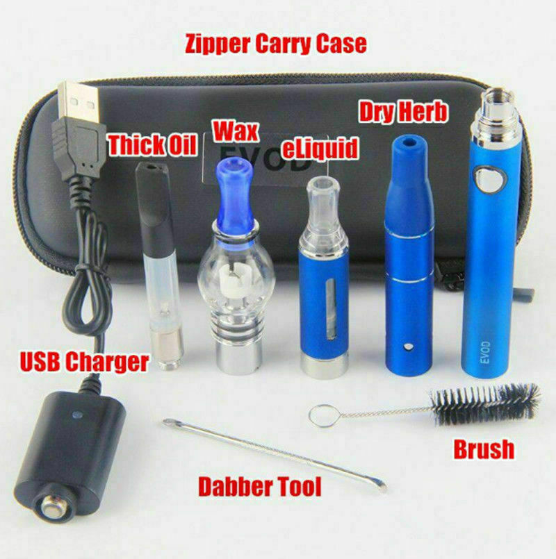 4 in1 Vaporizador Caneta Vape Erva Seca Kit Mini Dry Herbal Cera Starter Kit 1100mAh Azul