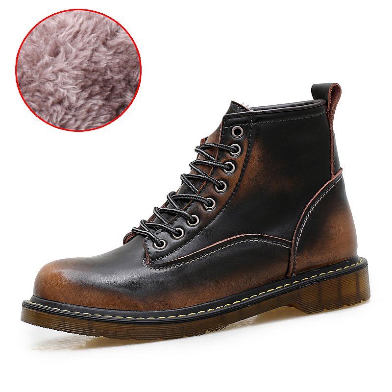 Basic Boots 2018 Mens Casual Boots Mens Lace Up Genuine Leather Shoes High Top Autumn Winter Boots Mart Ankle Boots Free Shipping 89027b Men's Boots