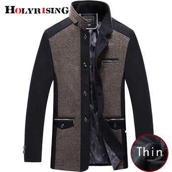Holyrising men coat winter wool caot erkek kaban Fashion Business Thicken Slim Overcoat Jacket Male Peacoat Brand Clothes 18703