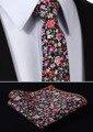 """Tmf203k7 preto rosa vermelho Floral 2.75 """" 100% algodão tecido Skinny Slim homens estreitas gravata do laço lenço de bolso praça conjunto terno"""