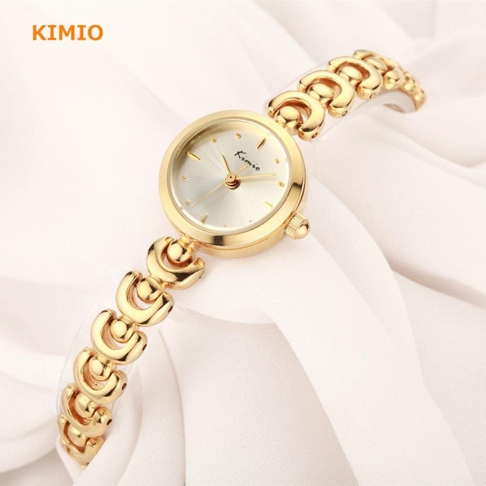 Prix pour Kimio unique u bracelet sangle petit cadran rond femme montres 2017 marque de luxe mode quartz or whatch femmes montre-bracelet réveil