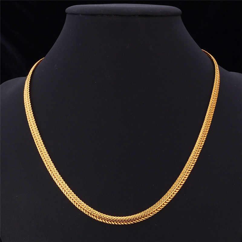 U7 marka mężczyźni naszyjnik moda raper biżuteria różowe złoto/czarny/złoty kolor 6 MM unikalny Choker/długi klasyczne włośnica łańcuch N363